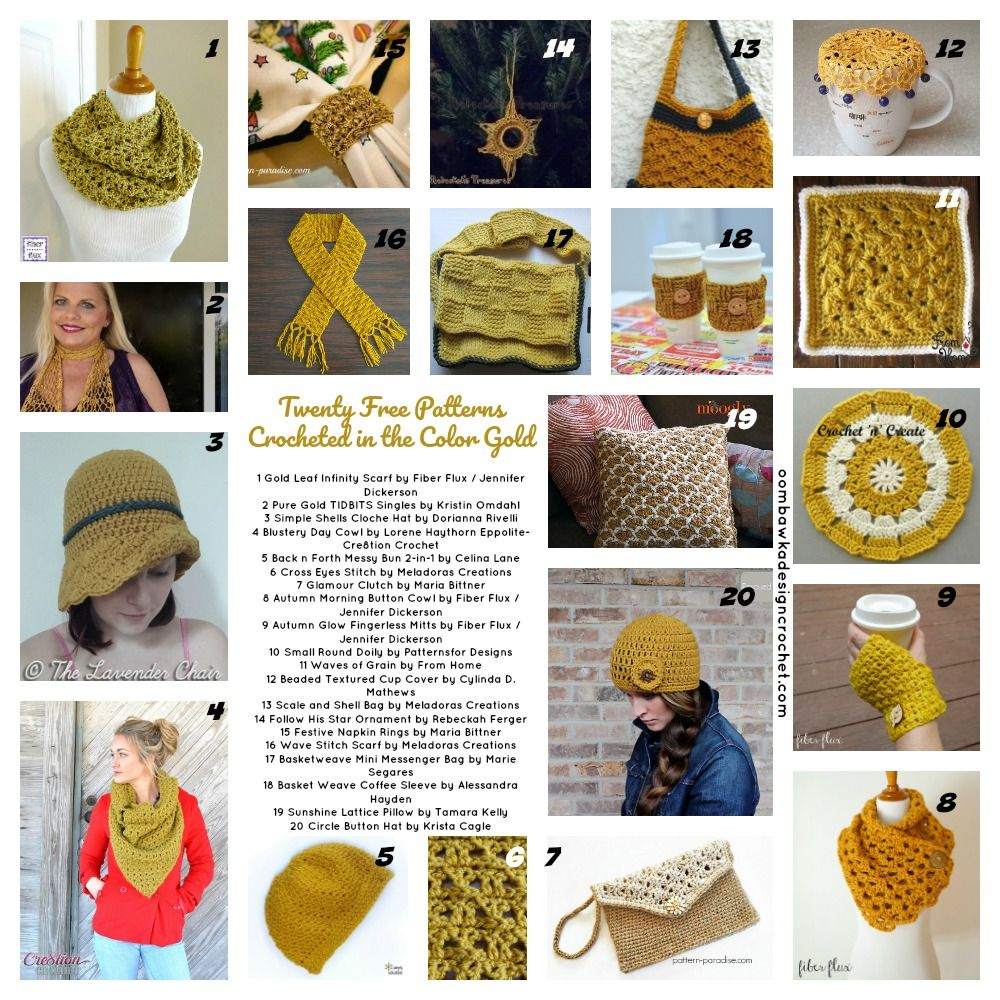 20 Free Patterns Crocheted in the Color Gold | crochet it ...