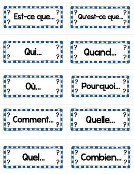 les mots interrogatifs french interrogatives word wall cards idees pour mes cours learn. Black Bedroom Furniture Sets. Home Design Ideas