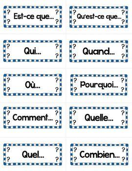 Les mots interrogatifs: French Interrogatives Word Wall Cards