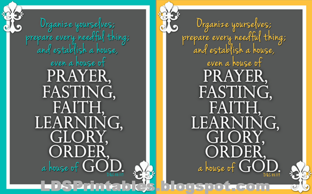 Free Lds Printables House Of Prayer Fasting Faith Learning Glory