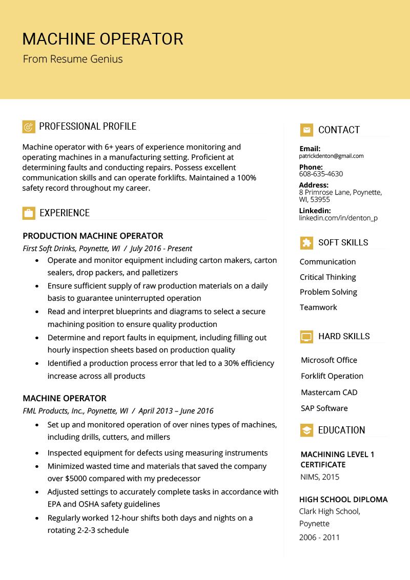 Machine Operator Resume Resume examples, Resume summary