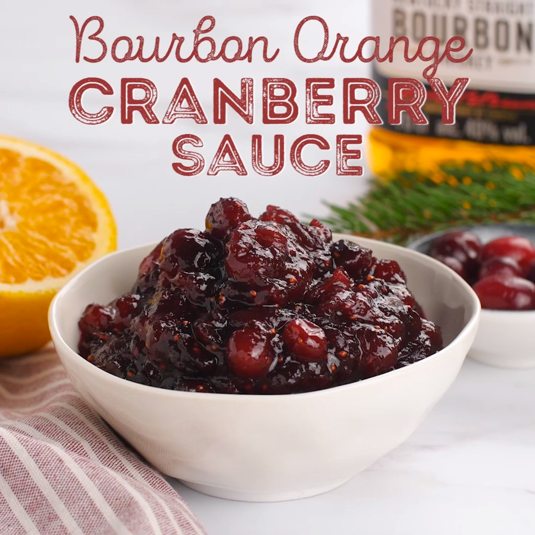 This Bourbon Orange Cranberry Sauce is loaded with tart and zesty flavor! Made with fresh cranberries, orange juice, orange zest, and bourbon, this easy recipe is ready in less than 30 minutes.