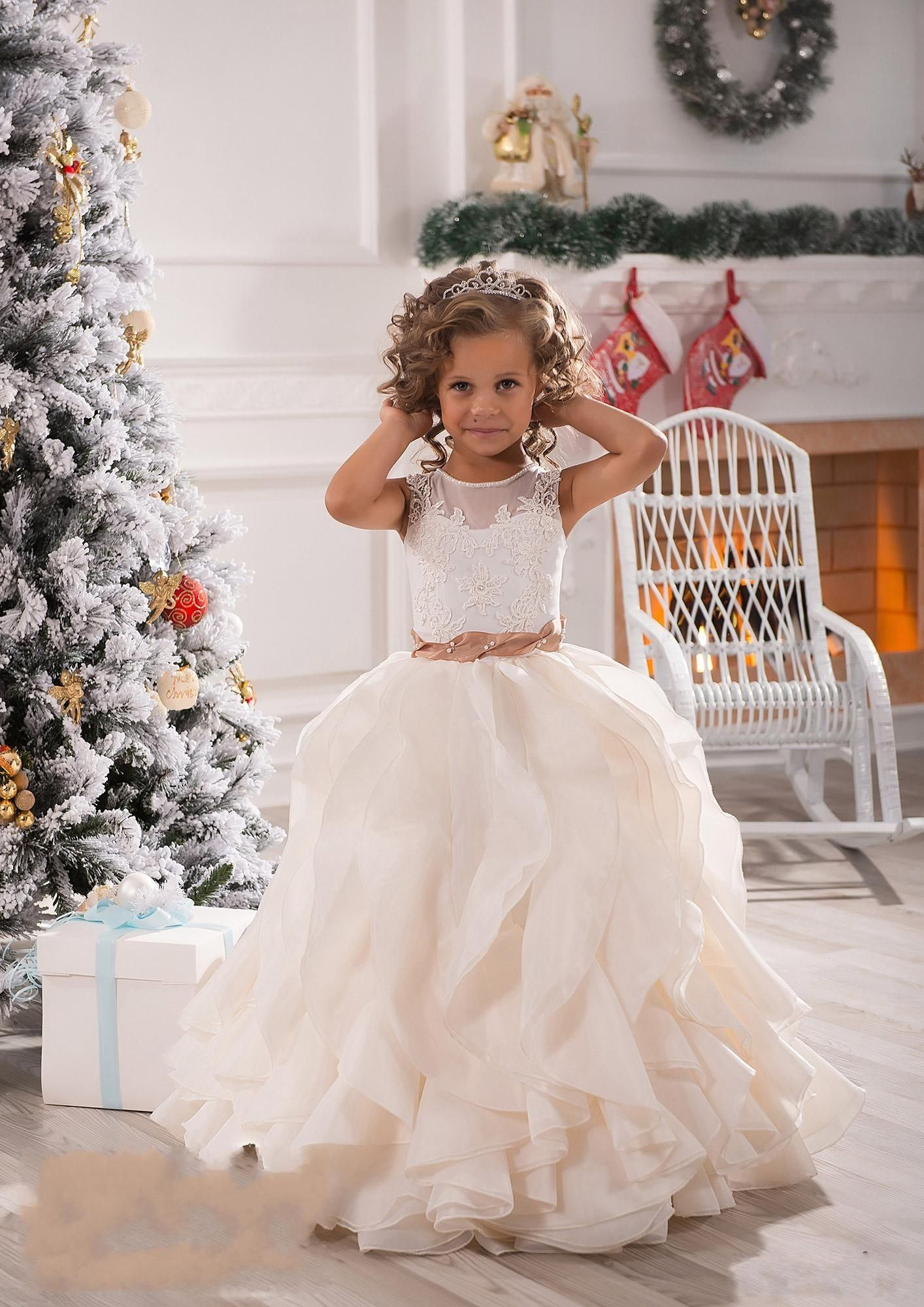 2018 cheap flower girls dresses for weddings illusion neck lace 2016 new flower girls dresses for weddings illusion neck lace white ivory sashes ruffles party princess children kids party birthday gowns online with izmirmasajfo