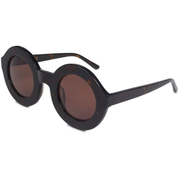 Wildfox Twiggy Round Frame Acetate Sunglasses ($270) ❤ liked on Polyvore