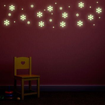 glow in the dark snow flakes repositionable kids bedroom wall