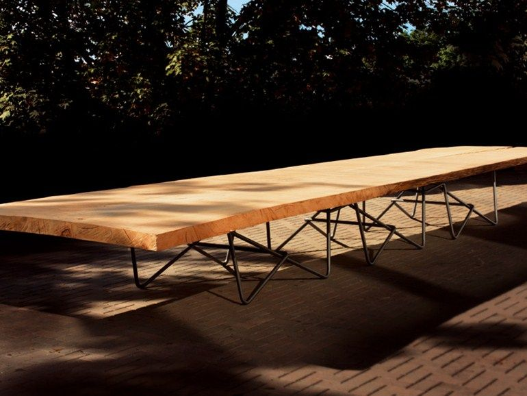 Tavolo Renzo ~ Tavolo rettangolare in legno antico collezione kauri by riva