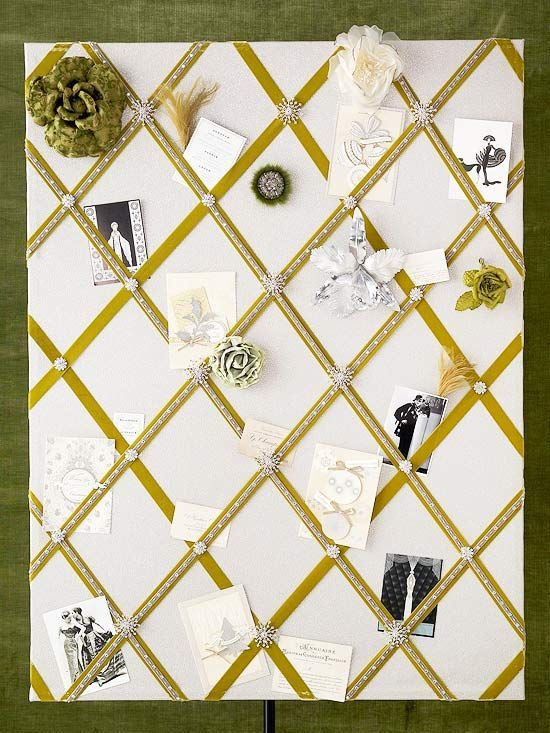 Creative Bulletin Boards to Craft #howtoapplybling Green Velvet Bulletin Board ~ This bulletin board is fit for a queen. Cover a corkboard with gray or silver fabric and staple to the back. Make a crisscross pattern from green velvet ribbon and hold in place with decorative gem pushpins. Apply bling embellishment tape to the ribbon for added sparkle. Attach feathers and beautiful flower accents for a royal finish #howtoapplybling