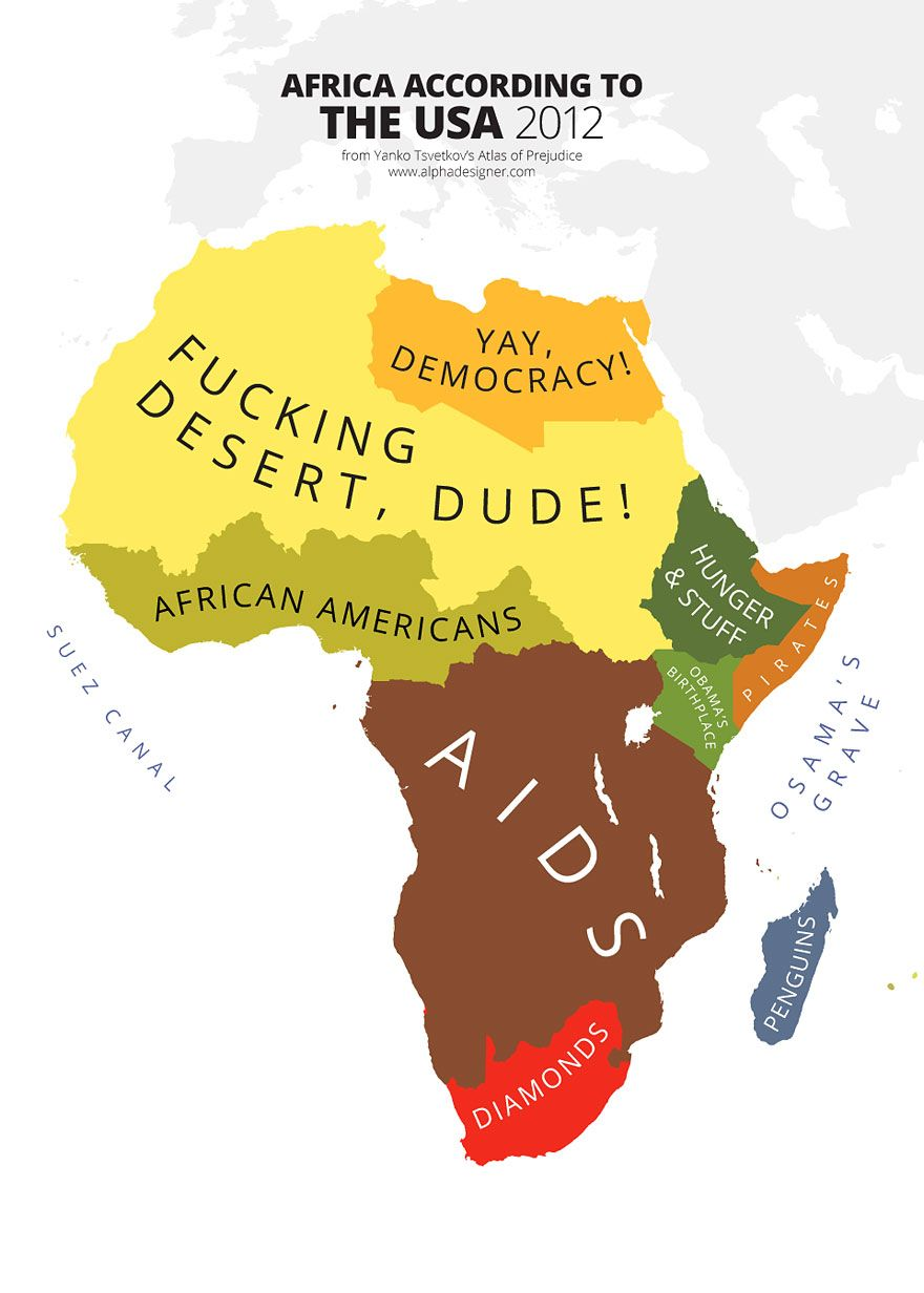 Maps Mocking National Stereotypes Around The World Bored - Map from us to african