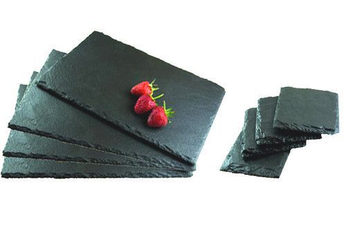 8 Pieces Natural Slate Placemats Coasters Set Tablemat