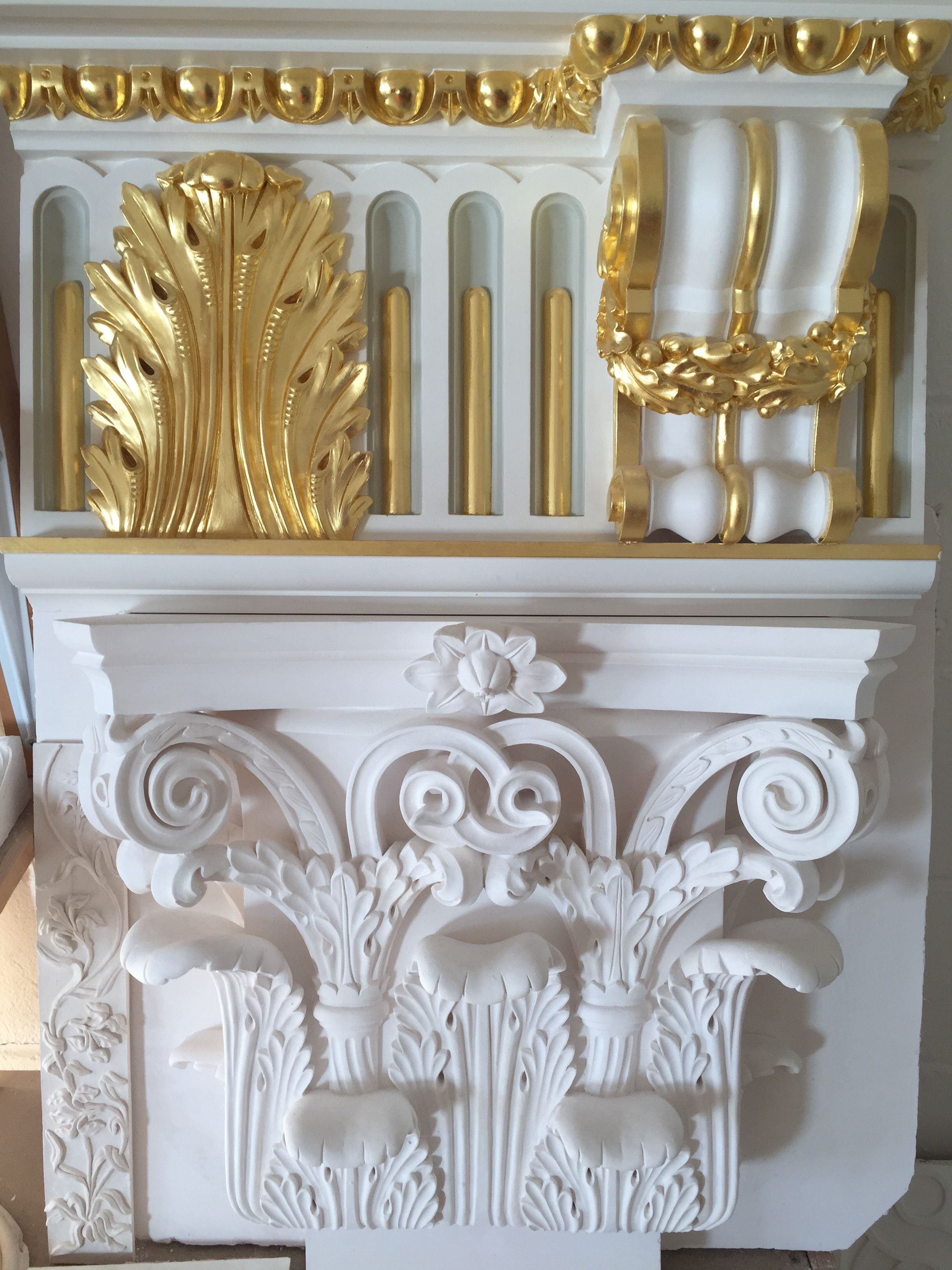 Decorated Plaster Moulding Resting On An Ornate Capital At Our