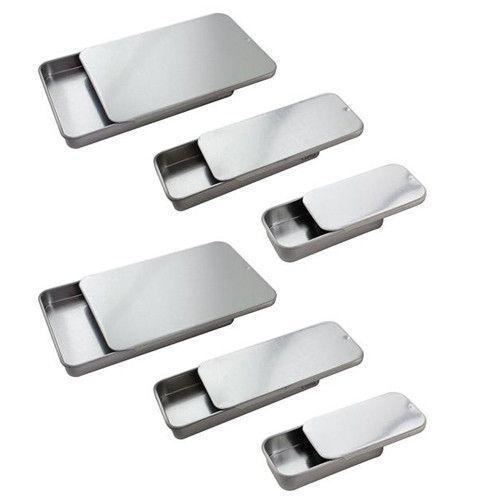 Metal Slide Top Tin Container Set Small Medium Large 6 Pack Tin Containers Metal Slide Metal Containers