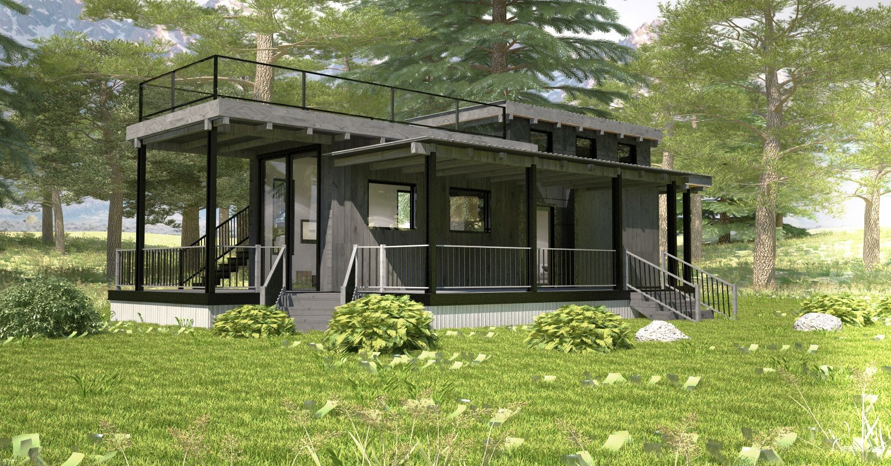 Flat Roof Caboose Wheelhaus Flat Roof House Modern Tiny House Flat Roof