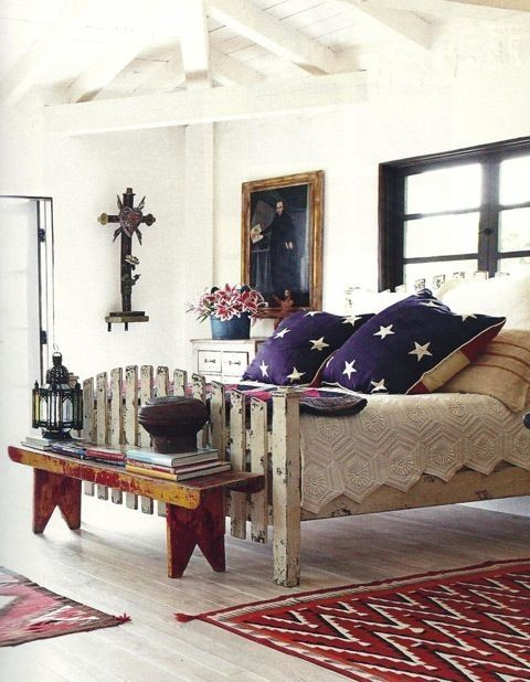 "Beautiful Americana Bedroom...love the ""picket fence"" look ..."