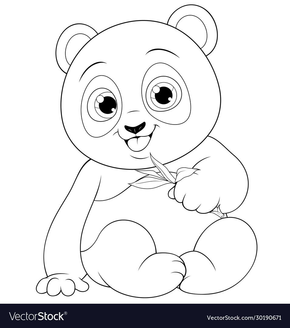 Vector Illustration Cute Funny Little Panda Baby Sitting Smiling On A White Background Colorin Bear Coloring Pages Monkey Coloring Pages Panda Coloring Pages