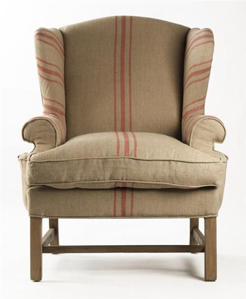 Khaki Accent Chair Near Me: Khaki Linen English Accent Club Chair With Red Stripe In