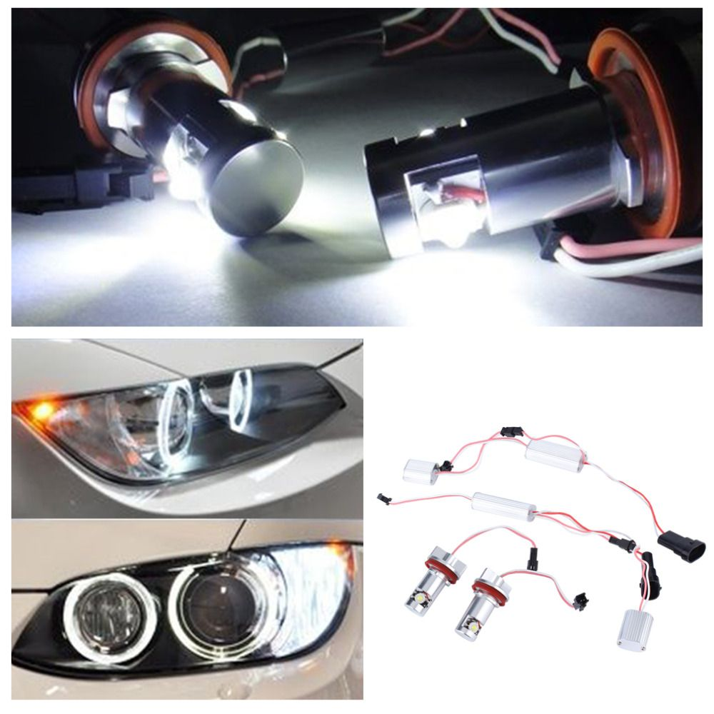 hight resolution of 6w per light bulb 6000k xenon hid white color light h8 07 11 for bmw 328i 335i m3 e93 e89 z4 led angel eye halo light no error
