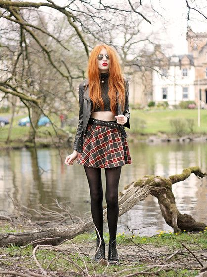 Spiked Jacket, Cagecity High Neck Sparkly Crop Top, Plaid Skirt, Diy Studded Belt, Dr. Martens Boots, Sunglasses