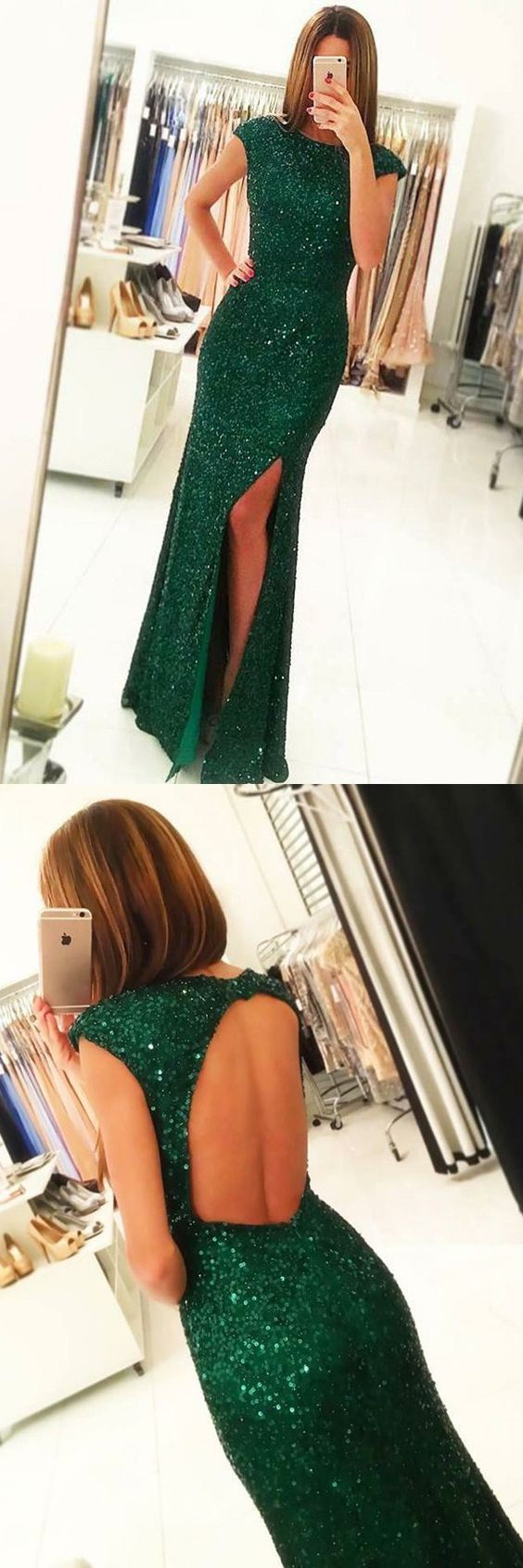 Dark green formal party dress with open back cap sleeves sparkle