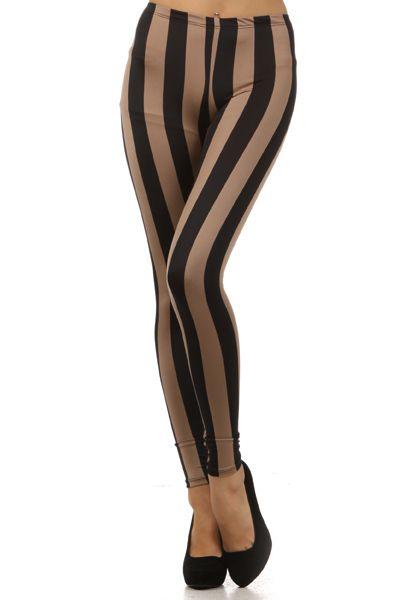 Ladies Black Striped Steampunk Tights