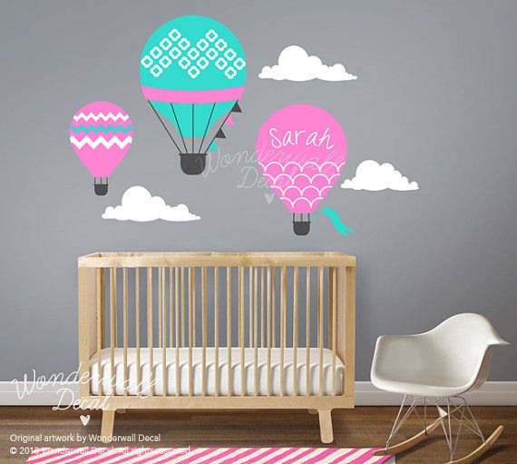 Baby, Nursery wall decal - Hot Air Balloon Wall decal Wall Sticker with  custom name
