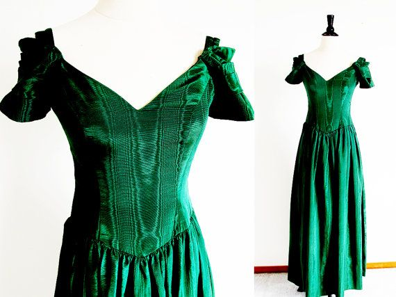 d76f6f929f Vintage Green Dress Bianchi Gown 70s Forest by StraylightVintage ...