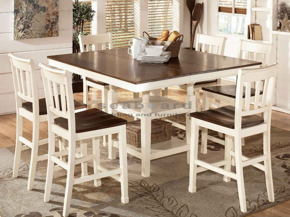 Gatherings And Meals Of All Sizes Become Possible With The Square Entrancing Two Toned Dining Room Sets Inspiration Design