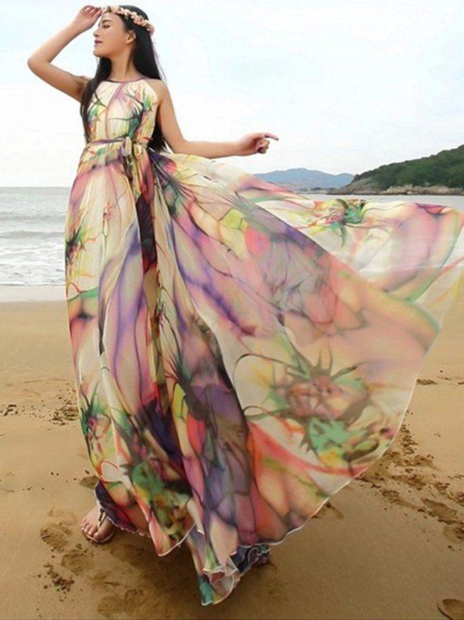 ca6bd4b514 Amazon.com: MedeShe Women's Chiffon Floral Holiday Beach Bridesmaid Maxi  Dress…