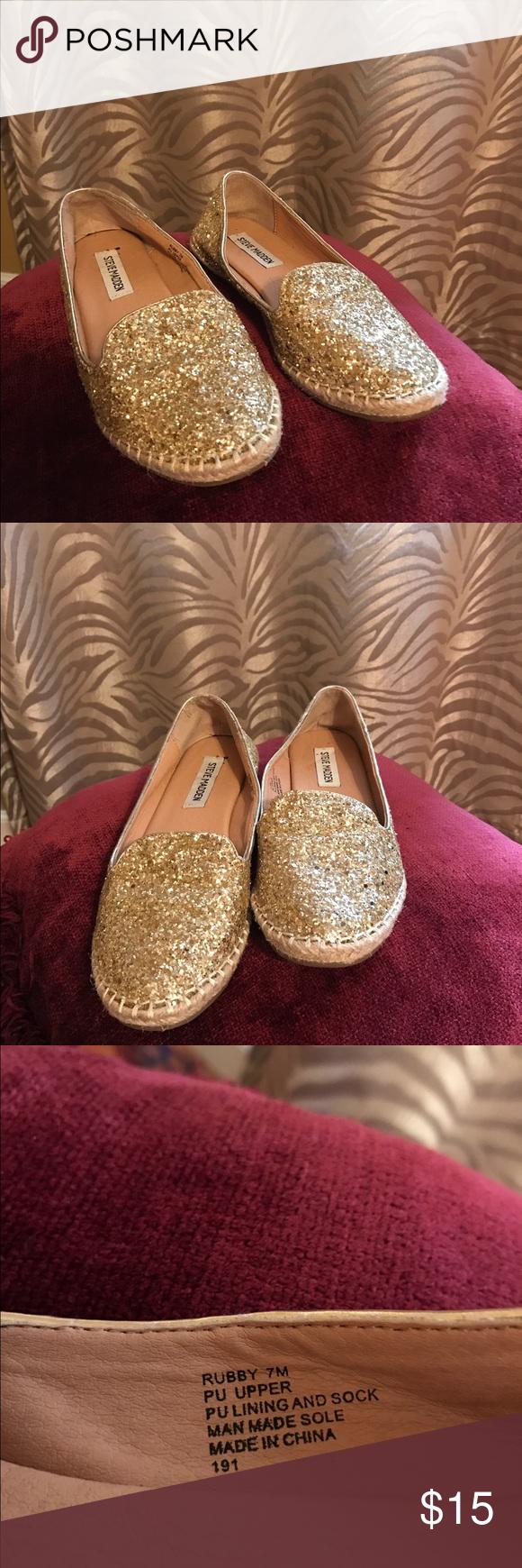 Steve Madden Shoes Steve Madden 'Rubby' Glitter Slip-On Size 7 Steve Madden Shoes Flats & Loafers