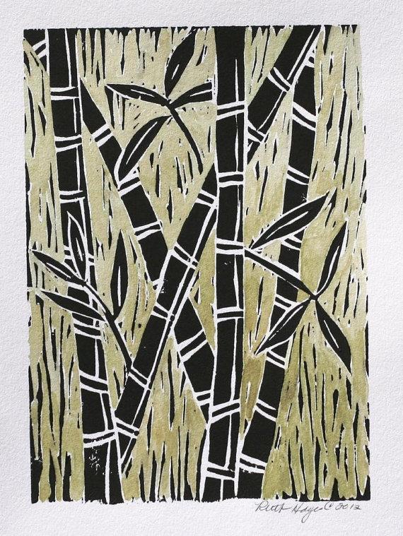 Original bamboo block print 5x7 black linocut green watercolor