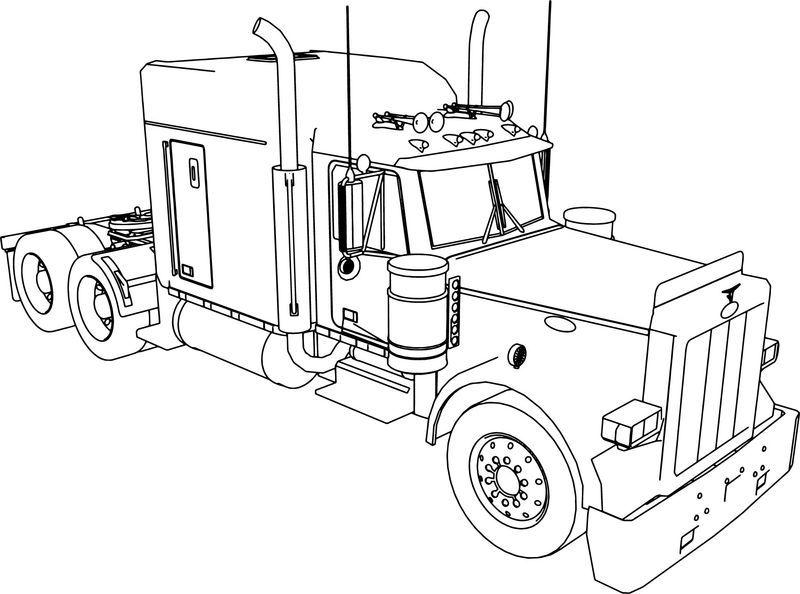 Peterbilt 379 Long Trailer Truck Coloring Page Truck Coloring Pages Peterbilt Big Trucks