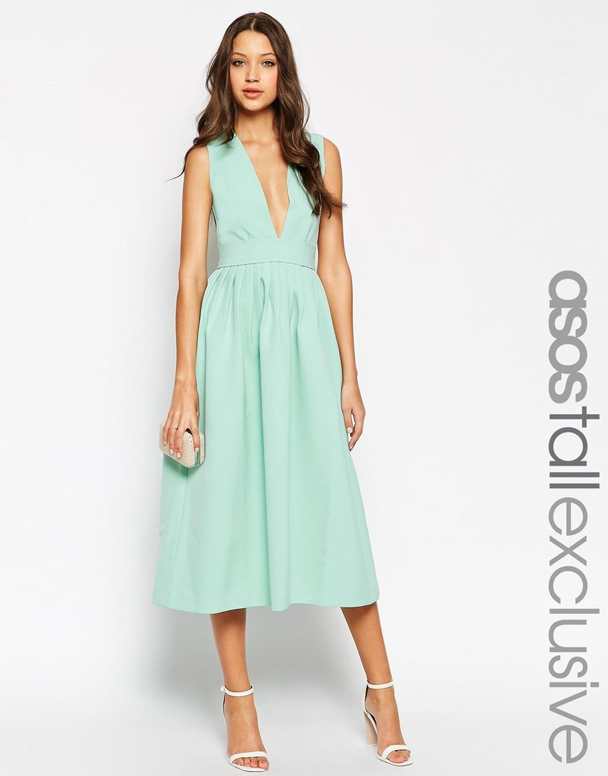 Image 1 of ASOS TALL Exclusive Occasion Plunge Dress with Open Back ...