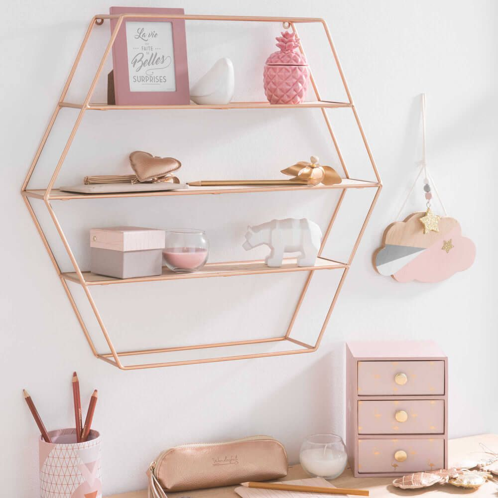 pretty plumber wall mounted copper shelving unit