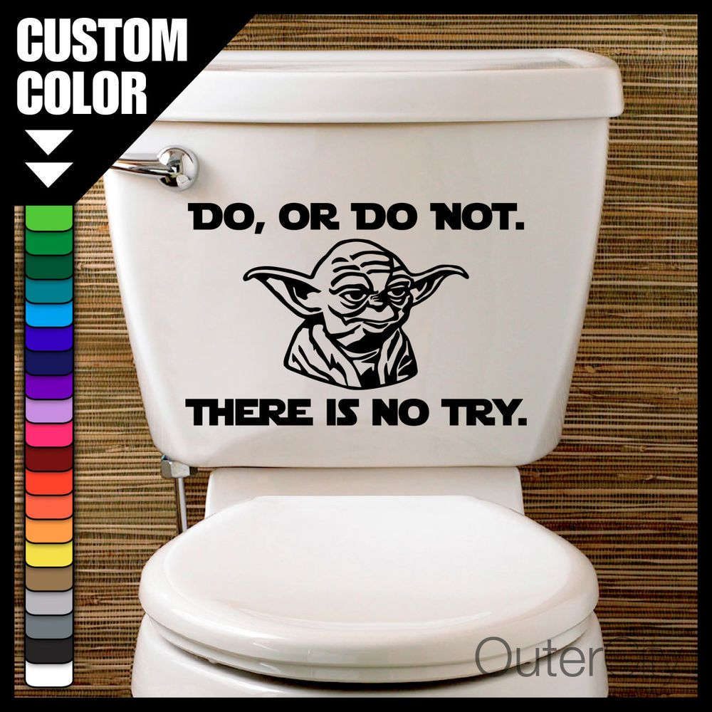 Details About YODA Toilet Decal   STAR WARS   Bathroom Decor Laptop Car JDM  Label Wall Sticker