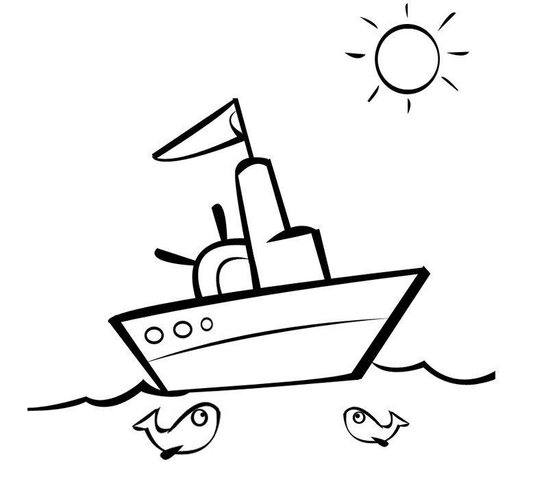 Barco navegando en un día soleado para imprimir y colorear | Navy ...