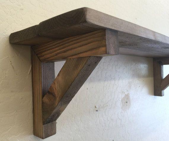 Primitive wall shelf, decorative wooden shelf with ...