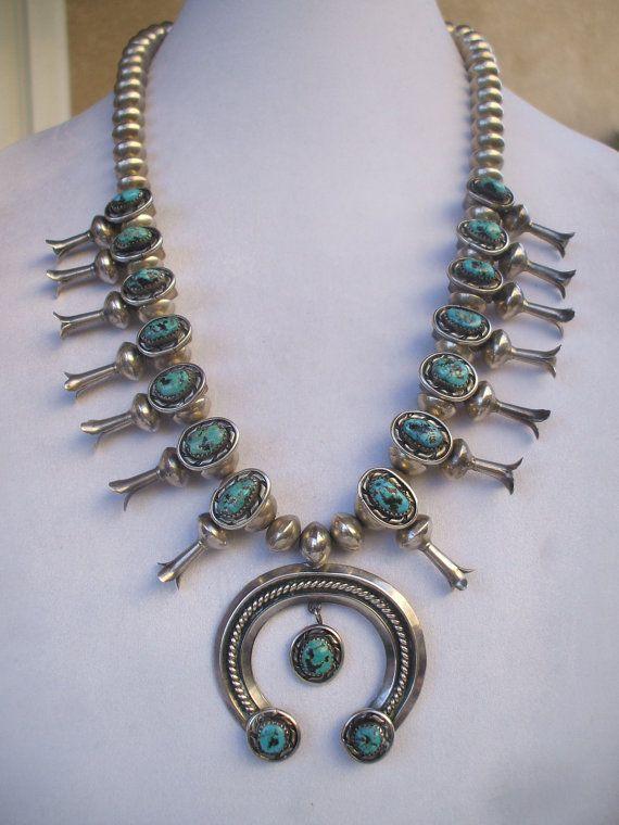 Sterling Silver Squash Blossom Pendant Turquoise Necklace with Silver Squash Blossom Pendant Signed Sterling Squash Blossom Necklace