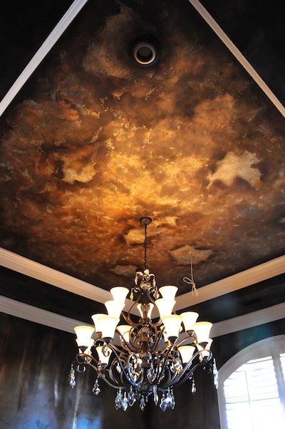 A Textured Dining Room Ceiling Created With Tinted Texture Effects Then Glazed With Metal Effects Copper And Iron Pai Ceiling Texture Ceiling Design Faux Walls