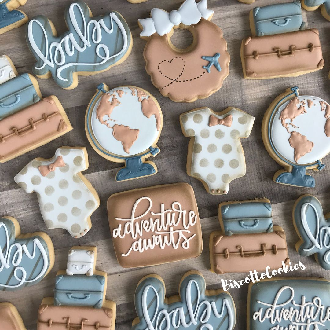 Adventure Awaits Decoratedbiscuits Edibleart Customcookies Sugarcookies Sugarart H Baby Cookies Adventure Baby Shower Baby Shower Snacks