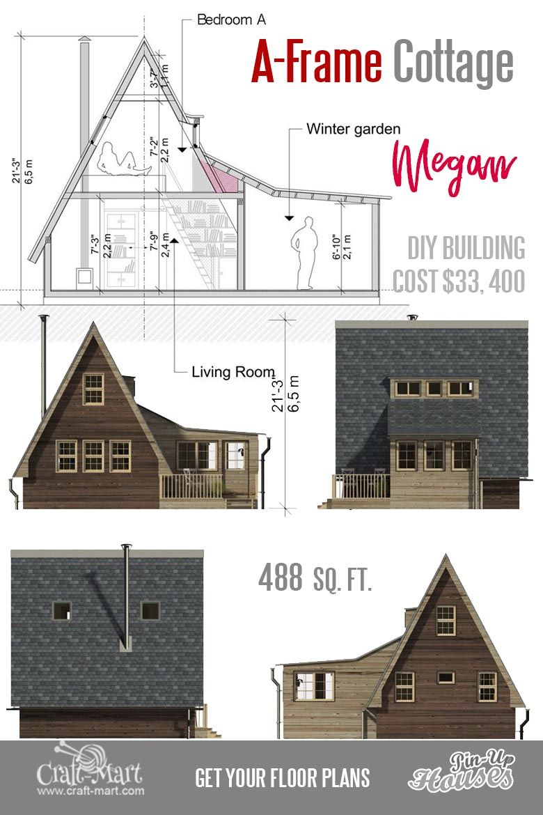 Cute Small Cabin Plans (A-Frame Tiny House Plans, Cottages, Containers) -  Craft-Mart | Small house floor plans, Small cabin plans, Cottage plan