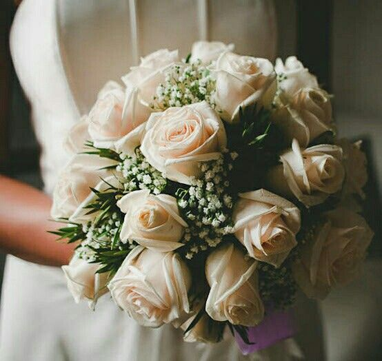 Bridal Bouquet Comprised Of: Pastel Peach Roses, White Gypsophila + Greenery/Foliage