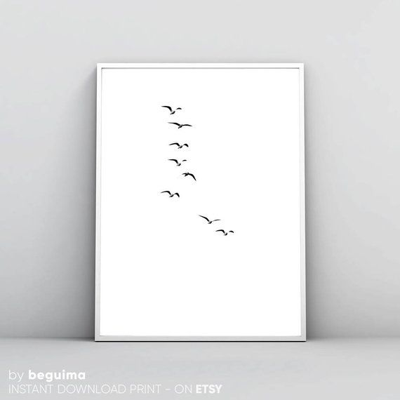 Flock Of Birds Flying Birds Flying Print Seagulls Print Printable