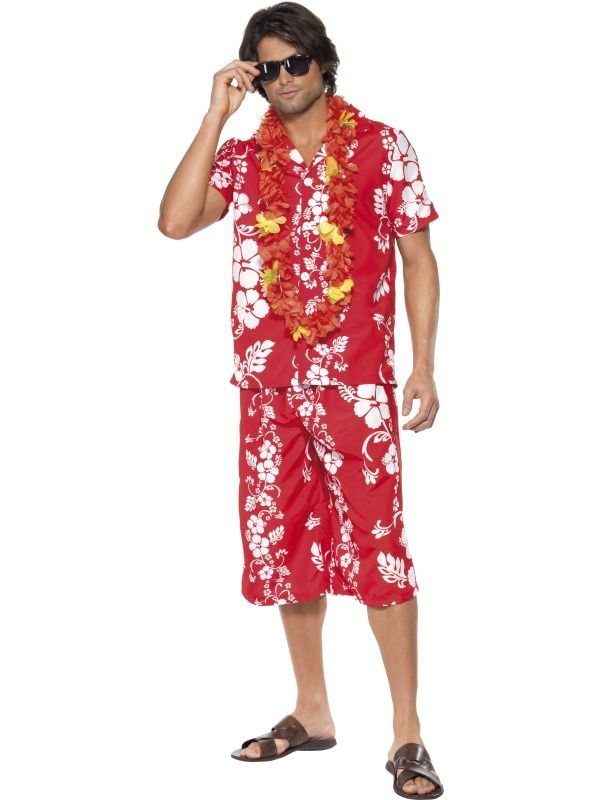Hawaiian Hunk Costume, Red and White, with Shirt and Shorts, in ...