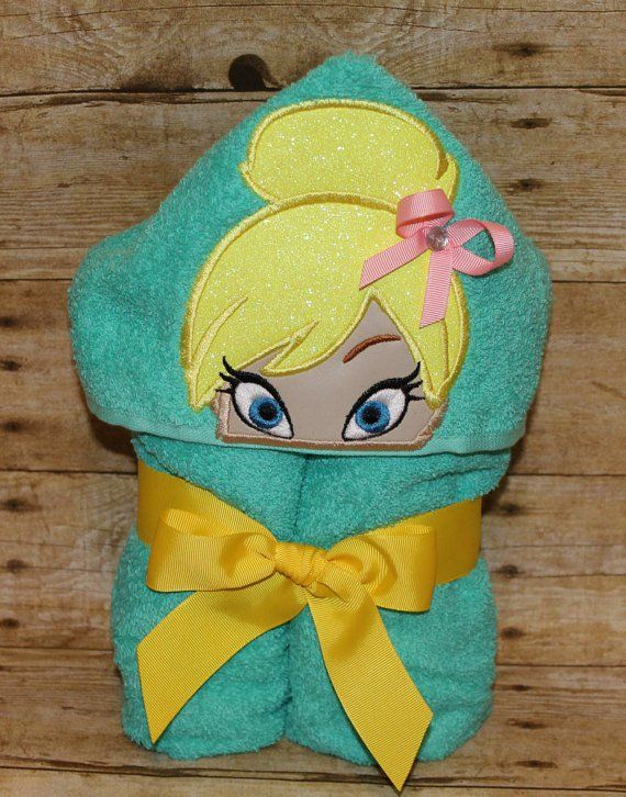 Tinkerbell Fairy inspired Hooded Bath Towel for kids  green