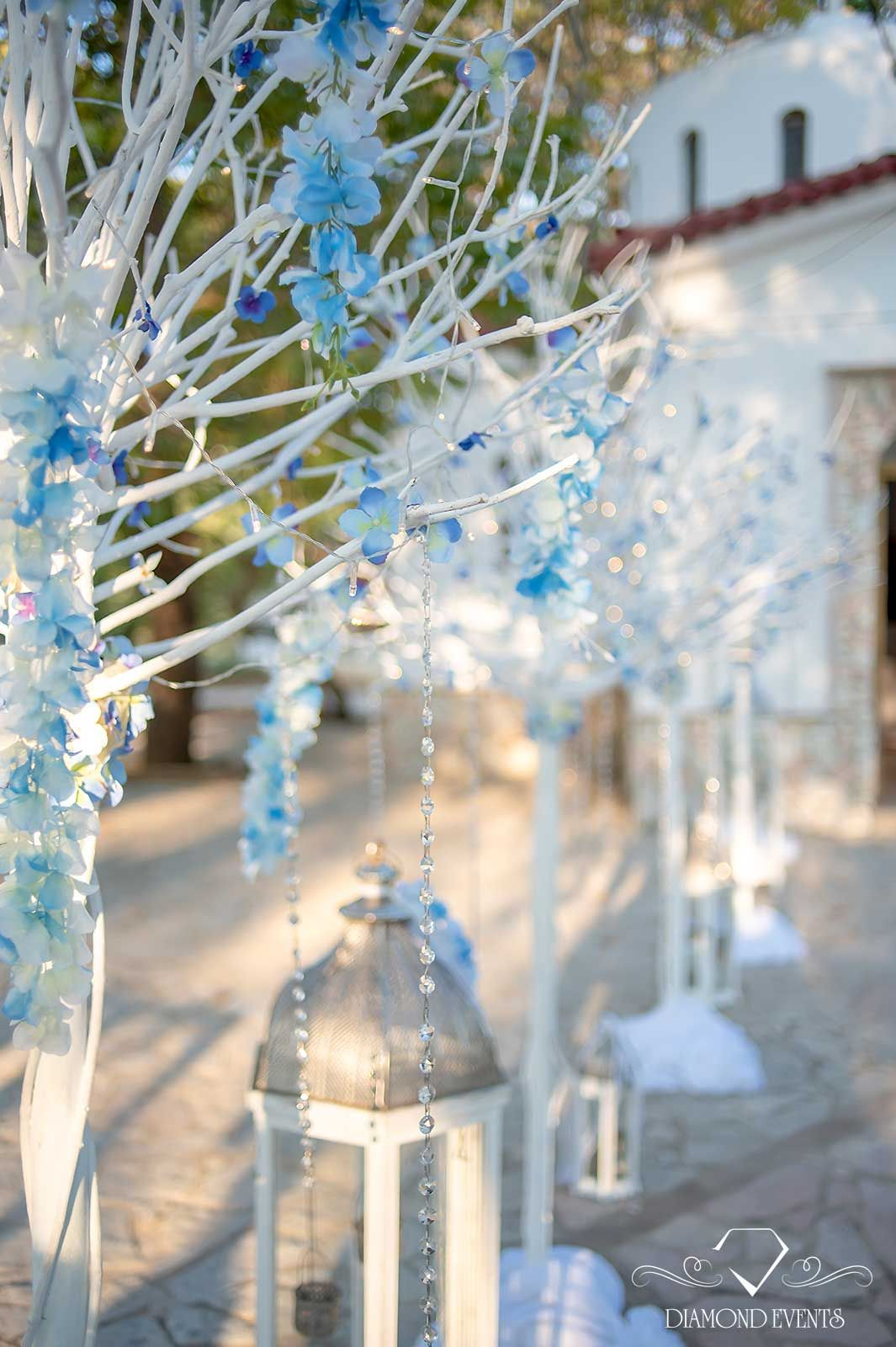 Breathtaking Church Decoration With White Trees And Silver