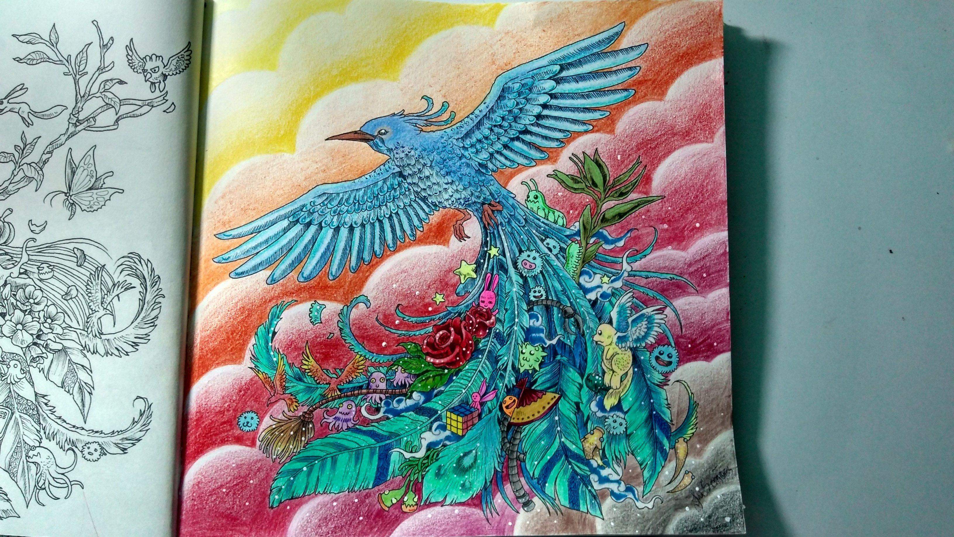 Mais um finalizado, livro de colorir Animorphia