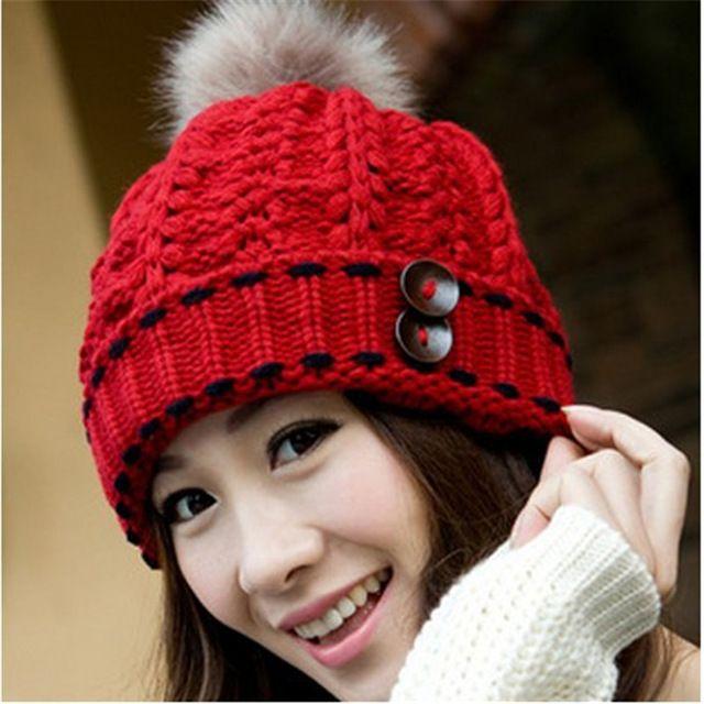 a2b5456bde688 Caliente elegante sombreros para mujer invierno y otoño gorros gorros  tejidos de piel gruesa bola de los accesorios del arnés gorros de lana  mujer HA0