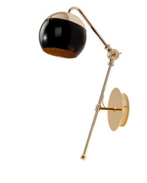 Modern Home Art Black Glass Ball Dining Room Wall Lamp Gold Metal Body Balcony Lights Cafe Light #balconylighting