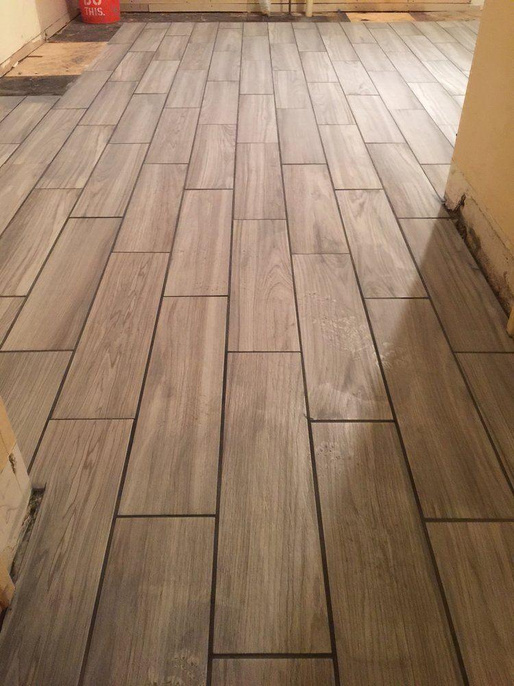 Ceramic Tile Woodgrain Flooring Wood Plank Cool Gray Kitchen Remodel Diy New