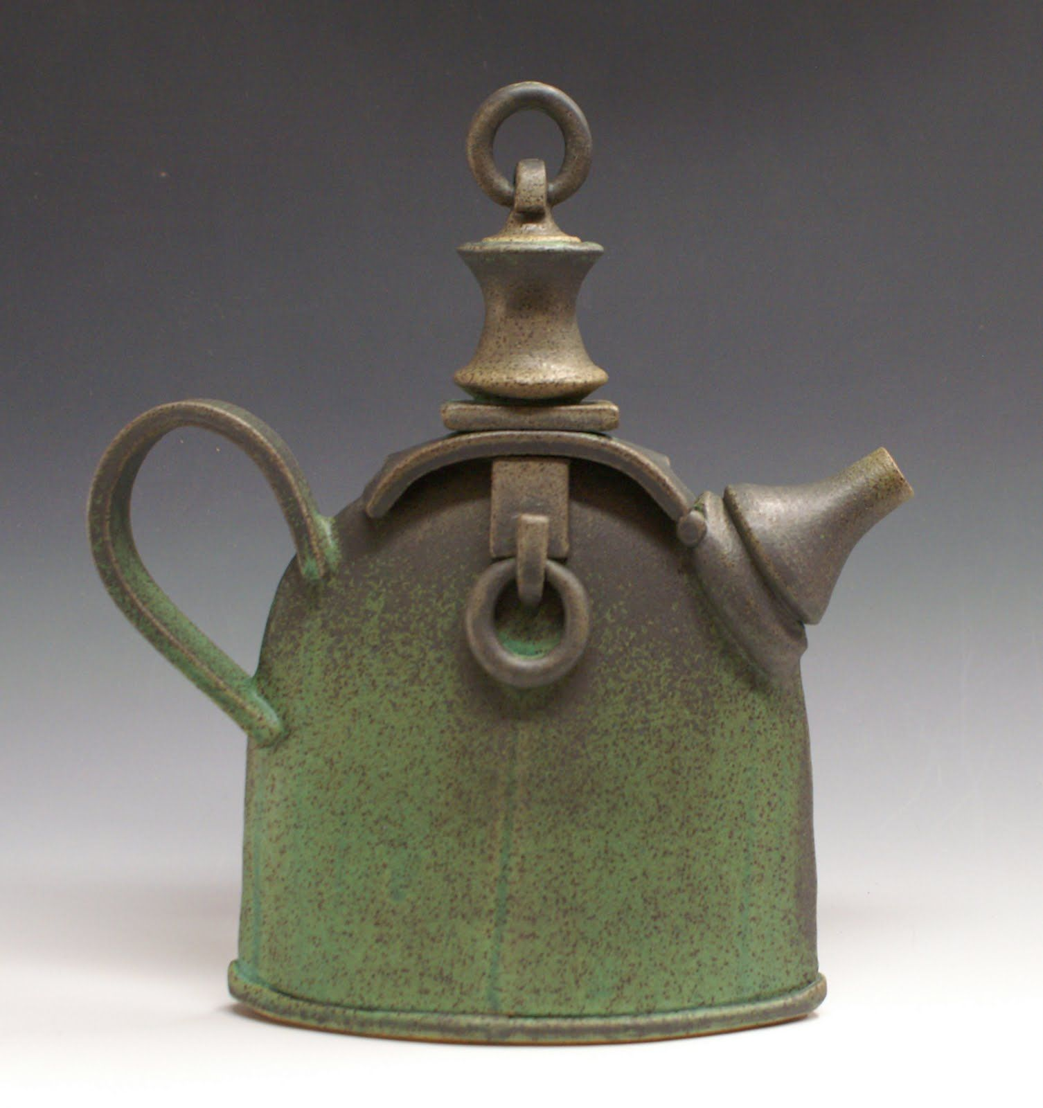 sandy terry ceramic artist and painter  green bronze teapot  - pottery teapots ceramic teapots contemporary teapots ceramic artiststerry o'quinn tea pots tea time painters kettles