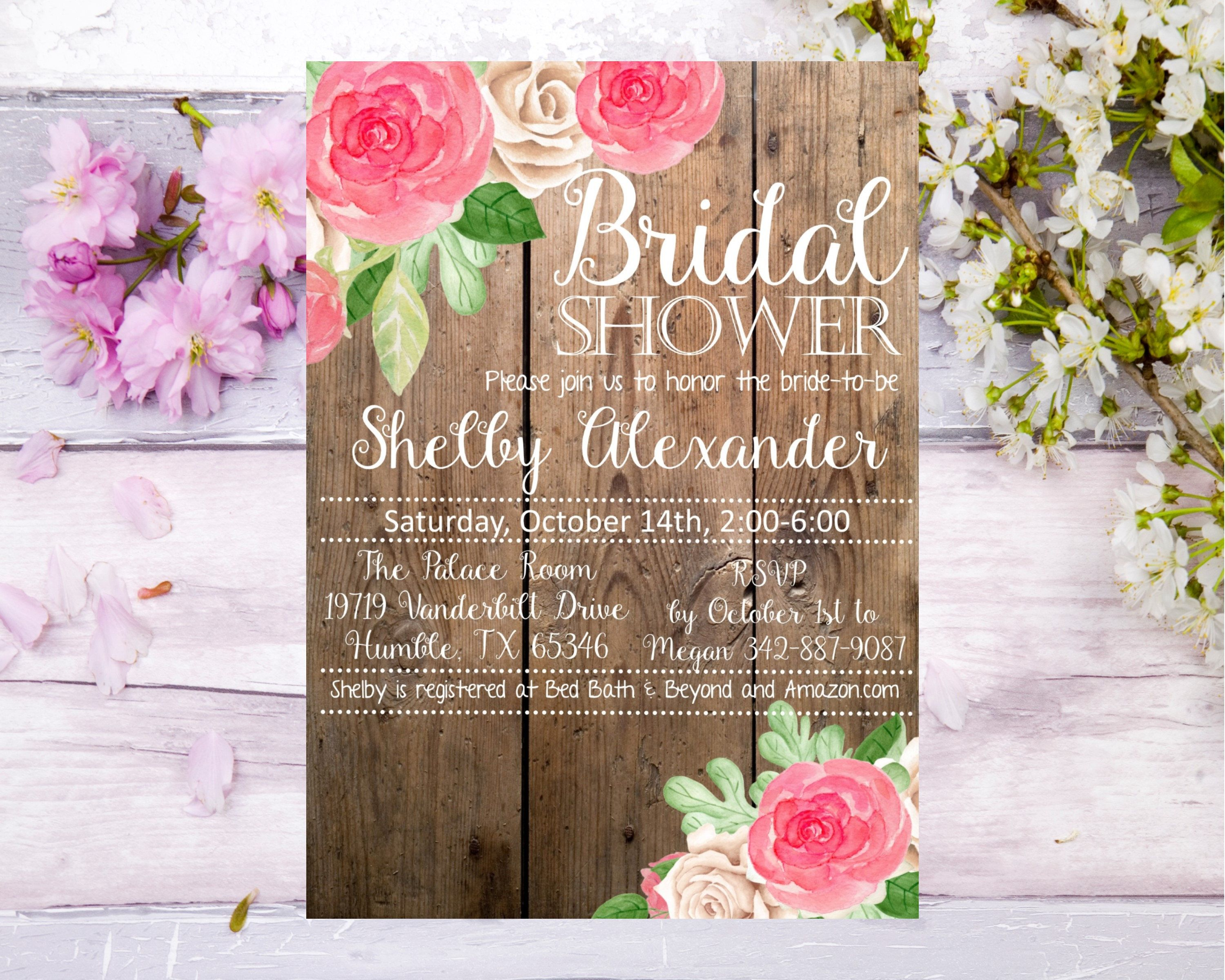 Bridal Shower rose and wood background Baby Shower invitation ...